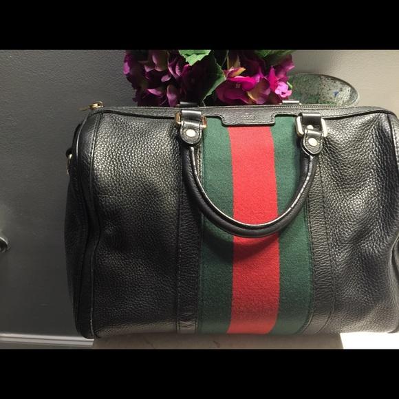 c1012ad73f916 Gucci Handbags - Authentic Black Grosgrain Gucci Boston Satchel